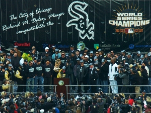 The Chicago White Sox celebrate winning the 2005 World Series, with CEG banner backdrop